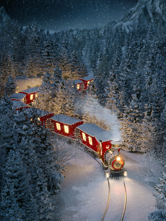 Amazing cute christmas train goes through fantastic winter forest in north pole. Unusual christmas 3d illustration Stok Fotoğraf