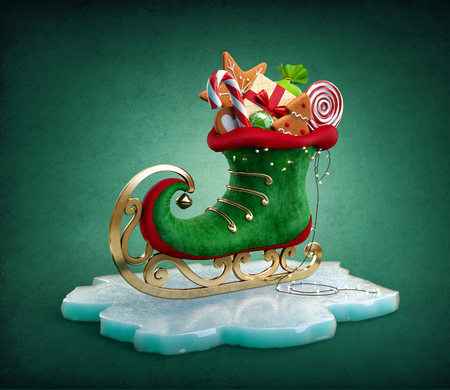 Magical elf skate full of christmas gifts and sweets. Unusual christmas illustration Stockfoto