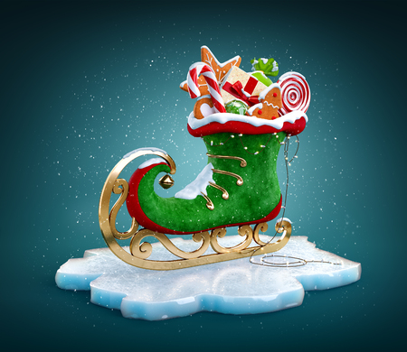 Magical elf skate full of christmas gifts and sweets. Unusual christmas illustration Banco de Imagens - 121169926