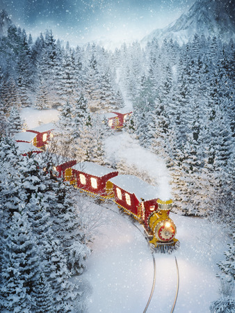 Amazing cute christmas train goes through fantastic winter forest in north pole. Unusual christmas 3d illustration 스톡 콘텐츠
