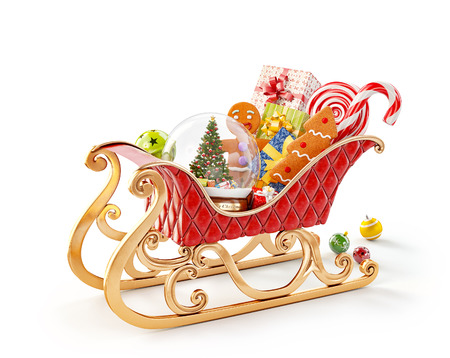 Unusual 3D illustration of red christmas sleigh full of gifts. Christmas and new year concept isolated on white