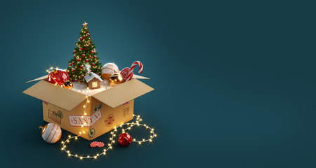 Opened gift box full of christmas  toys, christmas tree and cute little house from santa. Unusual christmas 3d illustration Standard-Bild
