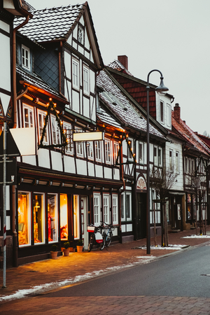 Beautiful street in european town decorated for christmas. Stock Photo