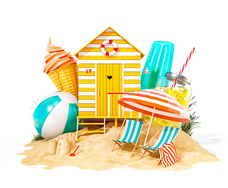 Colorful retro beach hut , lemonade, deck chairs and ice cream on a beach. Unusual summer 3D illustration. Isolated Stockfoto