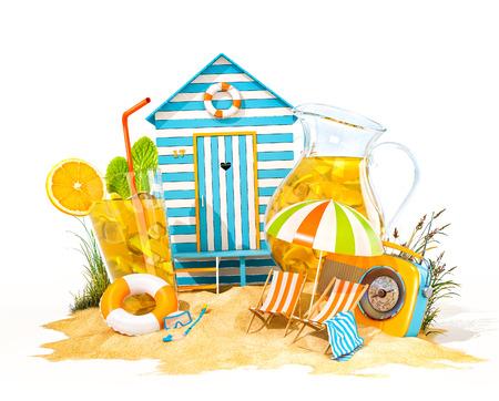 Colorful retro beach hut, lemonade, deck chairs on a beach. Unusual summer 3D illustration. Isolated
