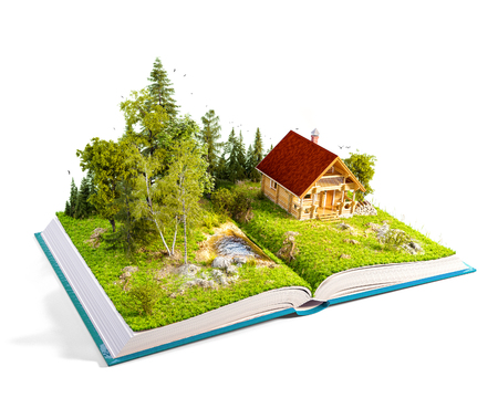 Cute countryside log house in a wonderful forest on pages of opened book. Unusual 3D illustration. Isolated Stock Photo