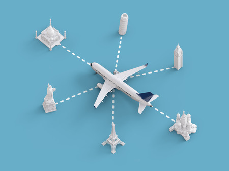 europe: Worldwide flights and delivery concept. Traveling around the world by plane. Unusual 3d illustration Stock Photo