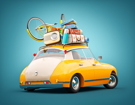 Funny retro car with laggage, suitcases and bicycle. Unusual summer travel 3d illustration. Summer vacation concept Stock Photo