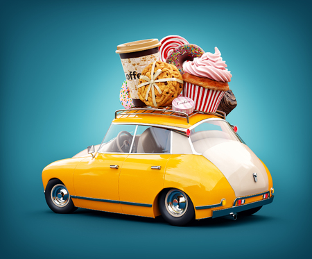 food: Cute fantastic retro car with sweets and coffee on top. Pastries concept 3d illustration.