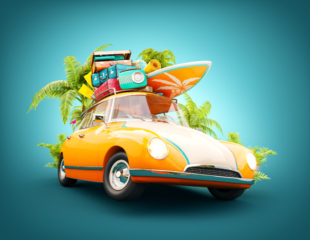 Funny retro car with surfboard, suitcases and palms. Unusual summer travel 3d illustration. Summer vacation concept 免版税图像 - 74877461