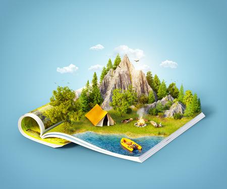 fogatas: Montaña en bosque, prado verde y tienda de campamento cerca de un lago en las páginas abiertas de la revista. Ilustración inusual de 3d. Concepto de viaje y camping