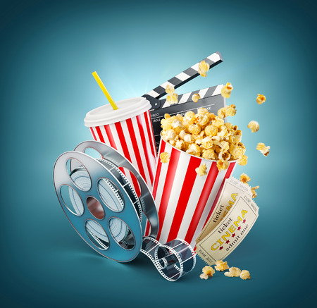 Popcorn, cinema reel, disposable cup, clapper board and tickets at blue background. Concept cinema theater 3D illustration. 免版税图像 - 74878828