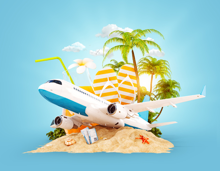 Passenger airplane and tropical palm on a paradise island. Unusual travel 3d illustration. Summer vacation and air travel concept Zdjęcie Seryjne - 74859204