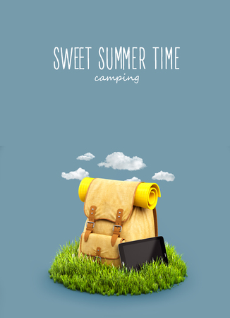 Backpack with the tablet on grass field at blue background. Unusual travel 3d illustration. Camping and hiking concept