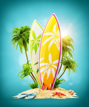 야자수와 낙원 섬에 서핑 보드입니다. 특이 한 여행 3d 일러스트 레이 션. 여름 휴가 개념
