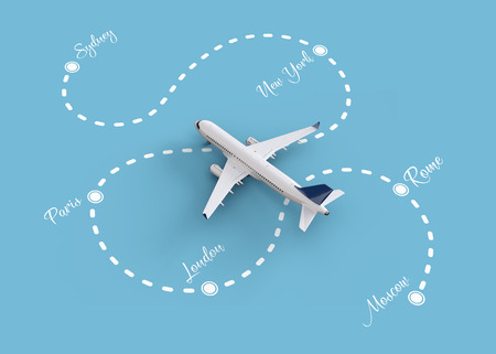 popular: Worldwide flights and delivery concept. Traveling around the world by plane. Unusual 3d illustration Stock Photo