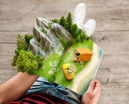 Mountain in forest, green meadow and camp tent near a beach on opened pages of magazine in hands. Unusual 3d illustration. Travel and camping concept