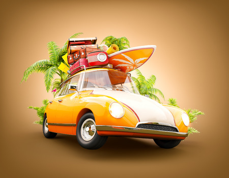 Funny retro car with surfboard, suitcases and palms. Unusual summer travel 3d illustration. Summer vacation concept
