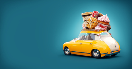 car: Cute fantastic retro car with sweets and coffee on top. Pastries concept 3d illustration.