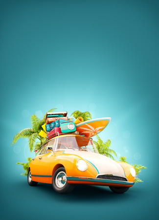 yellow car: Funny retro car with surfboard, suitcases and palms. Unusual summer travel 3d illustration. Summer vacation concept