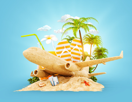 Passenger airplane made of sand and tropical palm on a paradise island. Unusual travel 3d illustration. Summer vacation and air travel concept