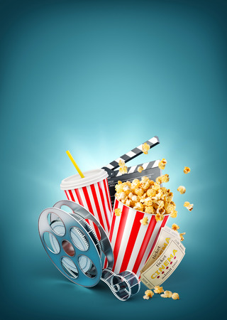 Popcorn, cinema reel, disposable cup, clapper board and tickets at blue background. Concept cinema theater 3D illustration.