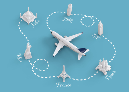 vuelos en todo el mundo y concepto de entrega. Viajar alrededor del mundo en avión. Unusual ilustración 3d