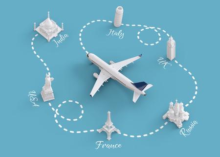 Weltweit Flüge und Lieferkonzept. Reisen rund um die Welt mit dem Flugzeug. Ungewöhnliche 3D-Darstellung