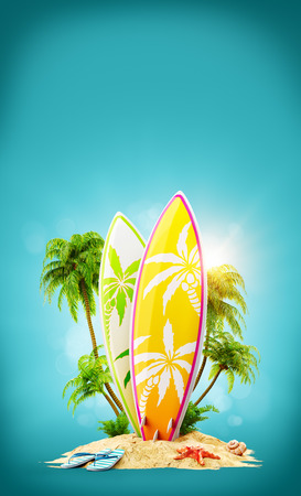 Surf boards on paradise island with palms. Unusual travel 3d illustration. Summer vacation concept 版權商用圖片 - 75736557