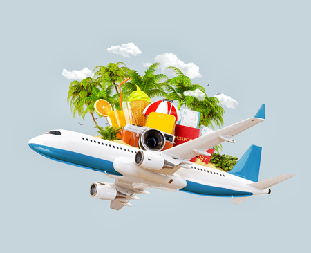 Passenger airplane, tropical palm, luggage, passports and camera in the sky. Unusual travel 3d illustration. Summer vacation and air travel concept Stockfoto