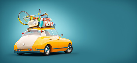 Funny retro car with laggage, suitcases and bicycle. Unusual summer travel 3d illustration. Summer vacation concept Stockfoto