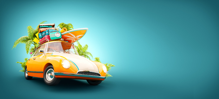 Funny retro car with surfboard, suitcases and palms. Unusual summer travel 3d illustration. Summer vacation concept 免版税图像 - 76735134