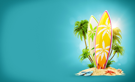 Surf boards on paradise island with palms. Unusual travel 3d illustration. Summer vacation concept