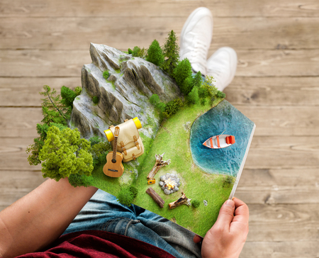 Mountain in forest, green meadow and backpack near a lake on opened pages of magazine in hands. Unusual 3d illustration. Travel and camping concept
