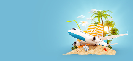 Passenger airplane and tropical palm on a paradise island. Unusual travel 3d illustration. Summer vacation and air travel concept Stock Illustration - 76756456