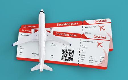 航空機と搭乗券。飛行機で世界中を旅します。航空券と旅のコンセプト。珍しい 3 d イラスト