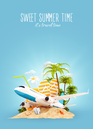 freedom: Passenger airplane and tropical palm on a paradise island. Unusual travel 3d illustration. Summer vacation and air travel concept