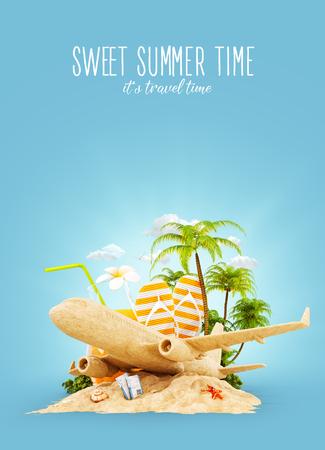 Passagierflugzeug aus Sand und tropischen Palmen auf einer paradiesischen Insel. Ungewöhnliche Reise 3D-Darstellung. Sommerurlaub und Flugreisen-Konzept