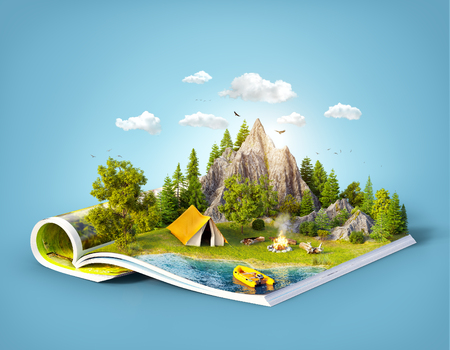 Mountain in forest, green meadow and camp tent near a lake on opened pages of magazine. Unusual 3d illustration. Travel and camping concept 免版税图像 - 81048778