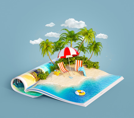 Deck chairs under the beach umbrella on a sand beach of beautiful island on opened pages of magazine in summer day. Unusual 3d illustration. Travel and vacation concept Stok Fotoğraf