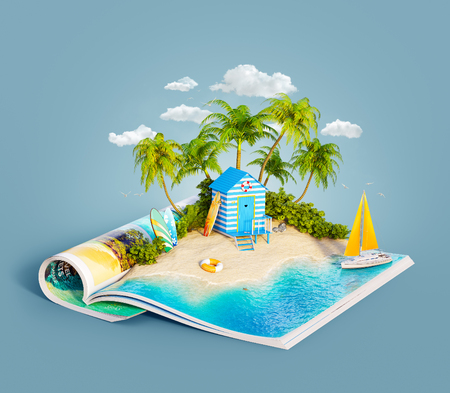 여름 날에 잡지의 열린 된 페이지에 아름 다운 섬의 모래 해변에 열 대 정글에서 해변 오두막. 특이 한 3d 그림입니다. 여행 및 휴가 개념