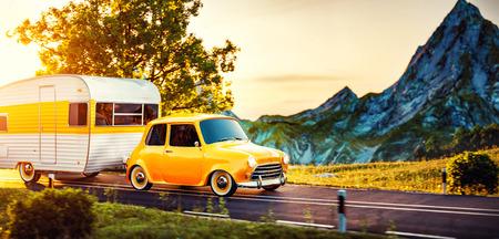 Retro-Auto mit weißem Anhänger. Ungewöhnliche 3D-Darstellung eines Wohnwagens. Camping- und Reisekonzept