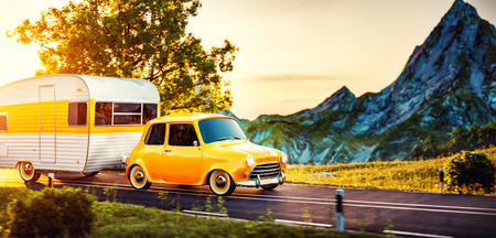 Retro car with white trailer. Unusual 3d illustration of a caravan. Camping and traveling concept Archivio Fotografico