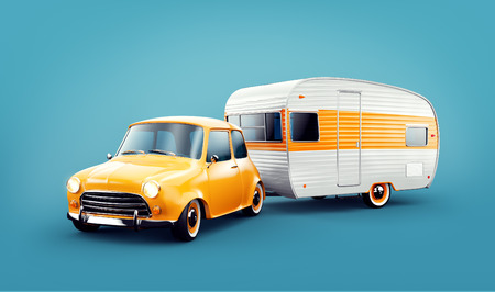 Retro macchina con rimorchio bianco. Illustrazione 3d insolita di una carovana. Concetto di campeggio e viaggi Archivio Fotografico - 85250986