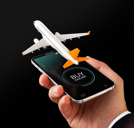 Smartphone-Anwendung für Online-Suche, Kauf und Buchung von Flügen im Internet. Ungewöhnliche 3D-Darstellung von Verkehrsflugzeug auf dem Smartphone in der Hand