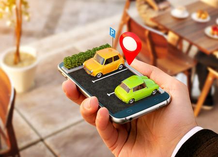 Smartphone applicatie voor online zoeken naar gratis parkeerplaats op de kaart. GPS Navigatie. Parkeren concept. Stockfoto