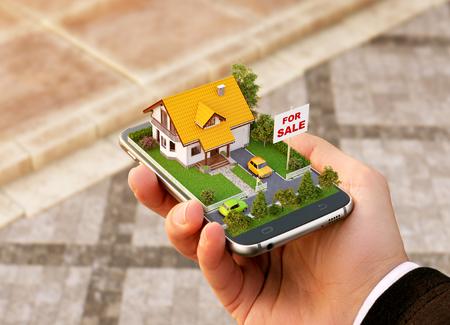 온라인 검색, 구매, 판매 및 예약 부동산을위한 스마트 폰 응용 프로그램. 스마트 폰에 아름 다운 집의 특이 한 3D 그림 손에 스톡 콘텐츠