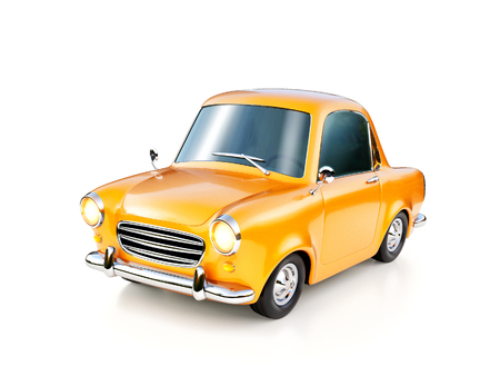3d illustration of a funny yellow cartoon retro car isolated on white