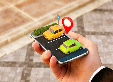 地図上の無料駐車場をオンラインで検索するためのスマートフォンアプリケーション。GPS ナビゲーション。駐車コンセプト。 写真素材