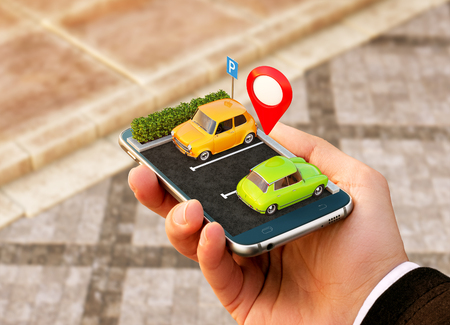 Smartphone application for online searching free parking place on the map. GPS Navigation. Parking concept.